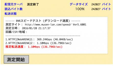 0120のダウンロード速度